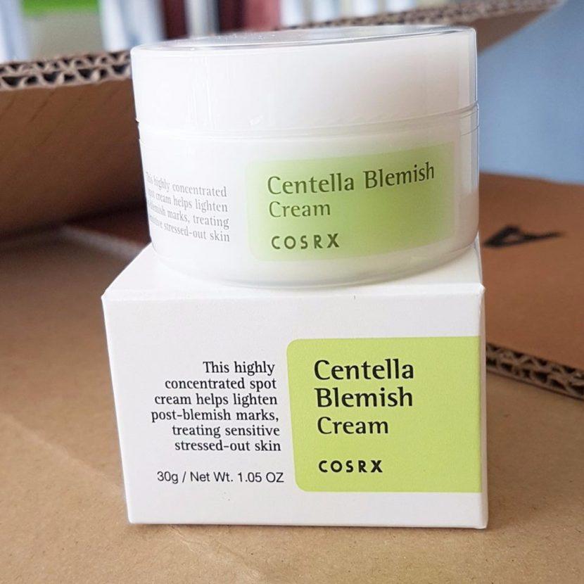 মুখে ব্রণ দূর করতে COSRX centella blemish cream এর প্যাকেজিং - shajgoj