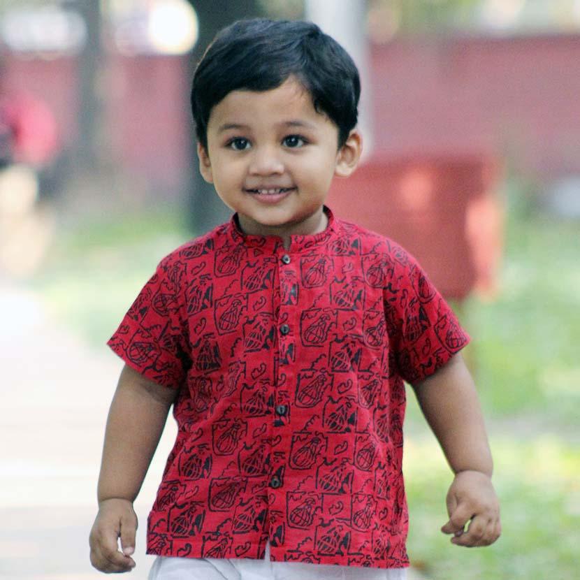 লাল ফতুয়াতে বসন্তে ছোট্ট ছেলের বা সোনামণি ফাল্গুন সাজ - shajgoj.com