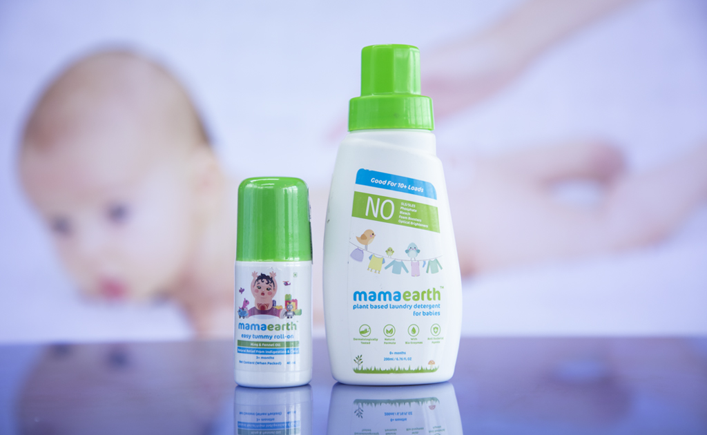 Mamaearth Easy Tummy Roll-On and Mamaearth Plant-Based Laundry Detergent