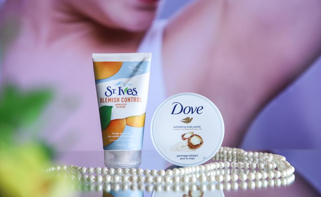 st ives blemish control scrub and dove exfoliating body polish